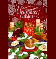 christmas cuisine winter holiday dinner banner vector image vector image