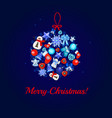 christmas tree decoration ball on a blue vector image vector image
