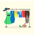 Clothes Racks with Women Wear on Hangers vector image