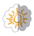 color sticker with abstract sun vector image vector image