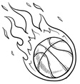 doodle basketball fire vector image vector image