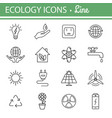 ecology and energy line icons vector image vector image