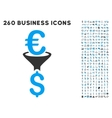 Euro Dollar Conversion Filter Icon with Flat vector image