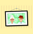 family portrait elderly parent in picture frame vector image