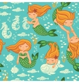 Funny color seamless pattern with mermaids vector image vector image
