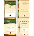 green certificate template collection vector image