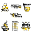 Hand-drawn bee hive honey jar and dipper logo vector image vector image