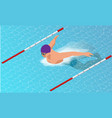 isometric male swimmers doing butterfly style in vector image vector image