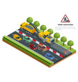 isometric traffic on the road road repairs vector image vector image