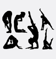 Male and female yoga silhouettes vector image vector image