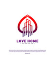 Modern city love logo design concept business