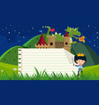 paper template with prince and dragon in vector image vector image
