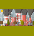 plant smoking pipes smog in city vector image vector image