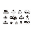 set logo and emblem for barbecue festival vector image vector image