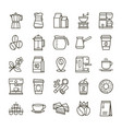 simple set coffee related line icons vector image vector image