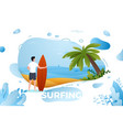 surfing man on a beach vector image vector image