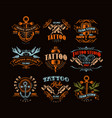 tattoo studio logo design set retro styled vector image vector image