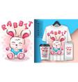 teddy rabbit poster and merchandising vector image vector image