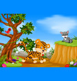 tiger bird and raccoon with mountain cliff scene vector image
