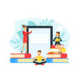 tiny people reading books digital library vector image