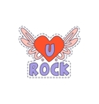 U Rock Winged Heart Bright Hipster Sticker vector image vector image