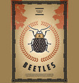vintage colored beetle poster vector image vector image
