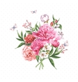 Vintage Watercolor Greeting Card with Blooming vector image vector image