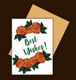watercolor floral wishes card vector image vector image