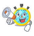 with megaphone stopwatch in the cartoon shape vector image vector image
