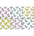 kids seamless pattern animals vector image