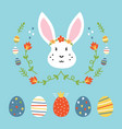 set collection of easter eggs and rabbit vector image