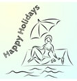abstract sketch of summer beach holiday vector image