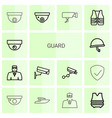 14 guard icons vector image vector image