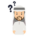 arab with question marks on white background vector image vector image