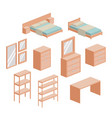 bedroom furniture set in colorful silhouette over vector image