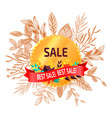 best sale poster with leaves vector image vector image