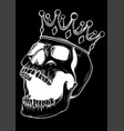 black and white skull in crown vector image vector image
