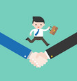 business man run with bag on handshake successful vector image