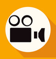 camcorder camera icon on white circle with a long vector image vector image