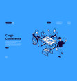 cargo conference isometric landing distribution vector image vector image