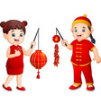 cartoon chinese kids holding a lanterns and firecr vector image vector image