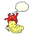 cartoon gross monster being sick with thought vector image vector image