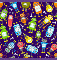 cartoon robots seamless background vector image vector image