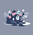 chat bot helps man in his problem vector image vector image