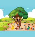 children playing at tree house vector image vector image