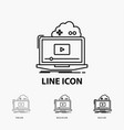 cloud game online streaming video icon in thin vector image