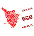 composition of red mosaic map of tuscany region vector image vector image