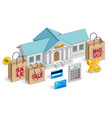 consumer credit concept bank building with vector image
