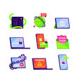 cyber secure icons password protection online vector image