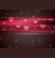 Dark pink glowing stripes and hearts background vector image vector image